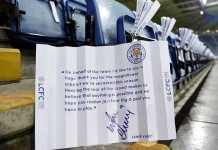 @UberFootbalI 1h1 hour ago Jamie Vardy has left a note for every Leicester City fan at the game tonight. Class!