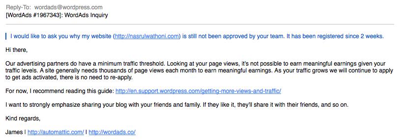 balasan email wordads