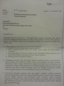 surat regulasi pemain asing pssi