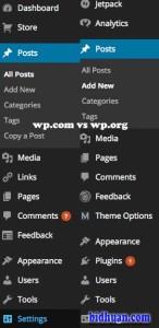dasboard wp.com vs wp.org