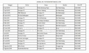 jadwal sriwijaya FC