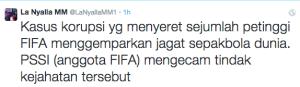 """Kasus korupsi yg melibatkan FIFA ini jelas mengejutkan sekaligus menyedihkan. Pihak berwajib harus mengusut masalah ini hingga tuntas."