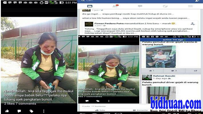 Kasihan! Ibu Pengemudi Go-Jek Ini Dipukuli Ojek Pangkalan Warung Buncit