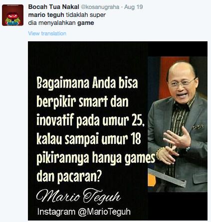 Kumpulan Quote Mario Teguh Sindir Para Gamers Dan Meme Balasannya