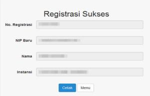 Untuk mencetak bukti registrasi klik tombol . Hasil cetak form bukti Registrasi seperti gambar dibawah ini :