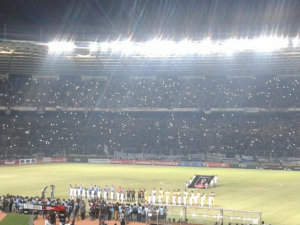 @Sport_Satu 1h1 hour ago Suasana SUGBK ketika lagu Indonesia Raya dikumandangkan... #1HatiUntukSepakbolaKita
