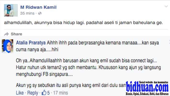 akun fb ridwan kamil diblok