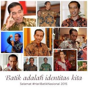 @jokowi  19h19 hours ago View translation Dari dulu saya pecinta batik. Batik adalah identitas kita yang mendunia. Selamat #HariBatikNasional -Jkw