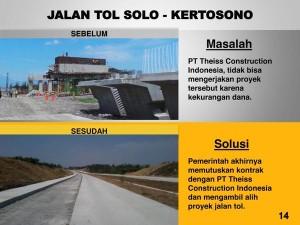 (4) Proyek-proyek Jalan Tol mangkrak yang diuraikan dan diresmikan oleh Presiden Joko Widodo