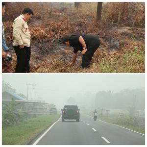 (2). Dalam perjalanan darat Banjarmasin - Palangka Raya, saya meninjau lokasi kebakaran hutan.
