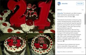 @KampoengNgawi Oct 19 View translation 21 tahun.. inilah foto ulang tahun terakhir dari Rita dan harapannya.. #TragediLawu (RIP- Rita Septi Nurika)