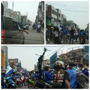 Belinda | 12.27 Jl Otista macet luar biasa ternyata krn diblok 3 mobil buat dangdutan, padahal di depannya kosong