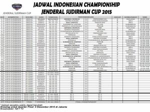 Jadwal Seluruh Pertandingan Piala Jenderal Sudirman