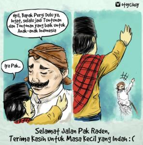 otoycihuySelamat Jalan, Pak Raden.. : ( .. Jadi inget dulu jaman kecil sempet ngambek minta dibeliin kaos gambar Unyil tapi ga dikasih.... #komikinajah #komikstrip #komik #pakraden #unyil #otoycihuy