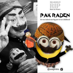 soegimitro#RIPPakRaden Oct 30 2015 One of Greatest Indonesia Legend Artist @soegimitro Instagram #PakRadenMinion
