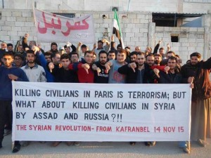 "@Conflicts PHOTO: ""Killing civilians in Paris is terrorism, but what about killing civilians in Syria by Assad and Russia?"""
