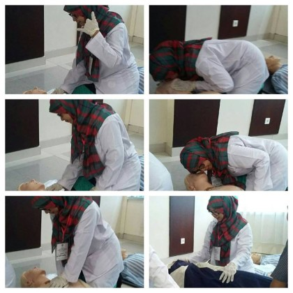 Day-3: Session-1 Simulation of Basic Life Support: safety (self, patient, and environment), check for the patient response, call for help while checking the carotis artery (< 10 secs), cardio-pulmonal resucitation 30x, head tilt chin lift (airway) and breathing
