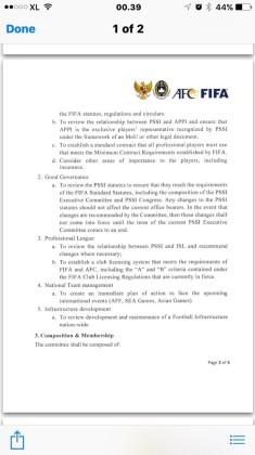 surat FIFA tentang tim adhoc