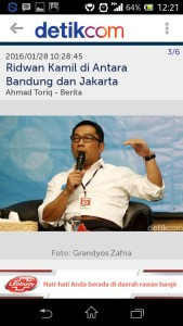 "Ricky ALvian Reinaldy January 28 · "" Antara Bandung-Jakarta "" Tetep di Bandung nya kang,, bandung butuh sosok pemimpin seperti kang emil... Saya juga bangga walaupun saya org Kabupaten Bandung!"