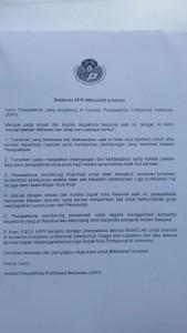 @APPI_info Jan 14 View translation Berikut Deklarasi Menolak Turnamen yang baru saja dibacakan oleh Ponaryo Astaman selaku exco APPI.