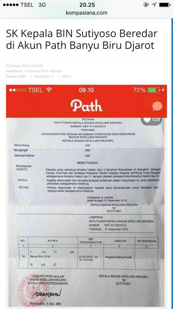 @Umar_Hasibuan Kasihan Banyu Biru jd masalah krn pamer SK dia jd intel BIN.Intel Melayu nih.