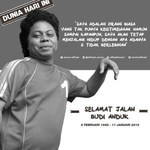 @Official_MNCTV 53m53 minutes ago View translation Lagi! Indonesia kehilangan salah satu komediannya #RIPBudiAnduk. Semoga amal ibadah di terima di sisiNya, Amin!