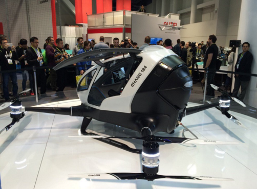 @polkaudio: Who wants to roll out of #CES2016 in style? Take the EHang 184 a Human-Sized #Drone w/ @KatieLinendoll ?#yesplease