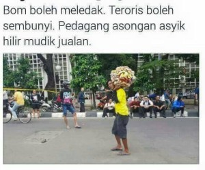 "@billygerrardus 16m16 minutes ago A little bit different from Paris, Jakartans are ""literally"" not afraid. #KamiTidakTakut #JakartaTidakTakut"