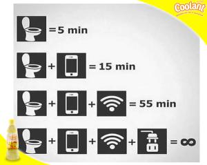 @CoolantID 01/12/2015 19:10:03 WIB Berapa lama kamu biasa nongkrong di kamar mandi? :P