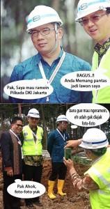 Emil : Pak, saya mau ramein Pilkada DKI Jakarta Ahok : BAGUS!! Anda memang pantas jadi lawan saya Emil : Baru gue mau ngeramein, eh udah gak diajak foto-foto