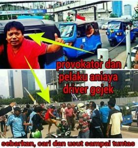 @vairjane  31m31 minutes ago  @TMCPoldaMetro mohon di usut tuntas provokator ini karna orang ini yg menyebabkan kemarahan para driver gojek .