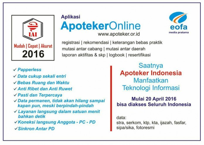 Untuk Permudah Anggotanya, IAI Segera Luncurkan Aplikasi Apoteker Online