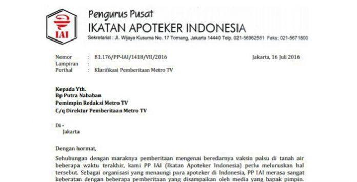 Surat Pengurus Pusat Ikatan Apoteker Indonesia