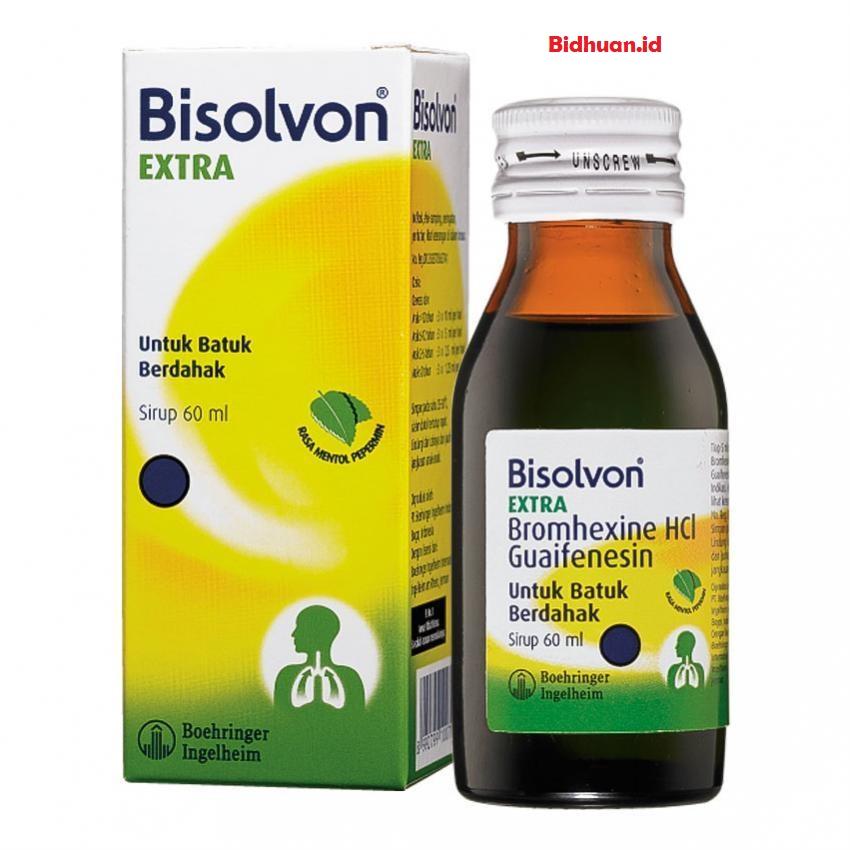 Obat batuk dan sakit tenggorokan dengan Bisolvun Flu Syr 60 ml