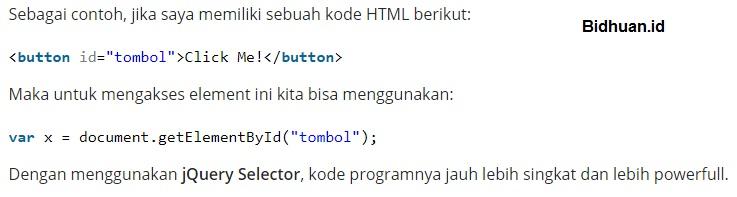 Cara Mencari Elemen HTML dengan Menggunakan Jquery Selector