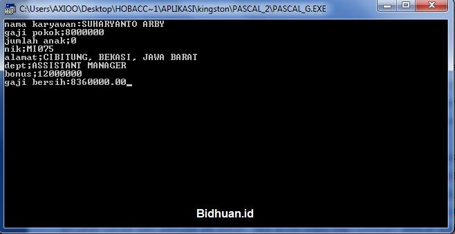 Contoh Sistem Perhitungan Gaji Karyawan dengan Pascal