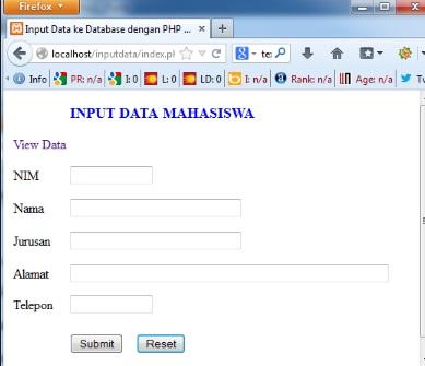 Input Data Menggunakan PHP