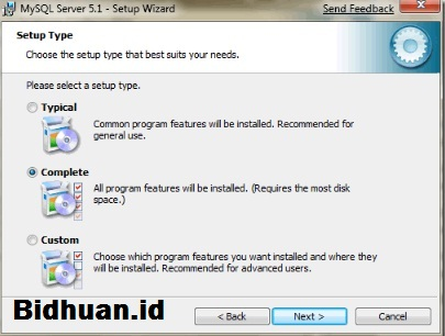 Pilihan Radio Button MySQL Installer