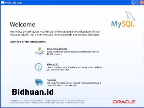 Tampilan Menu MySQL Installer