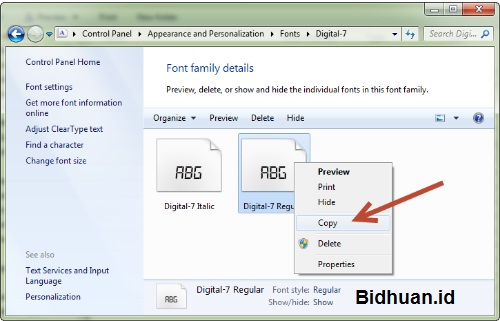File Font External Bawaan Windows