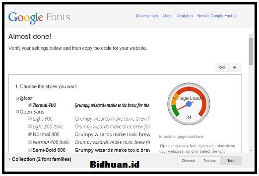 Tampilan Beberapa Pilihan Google Font
