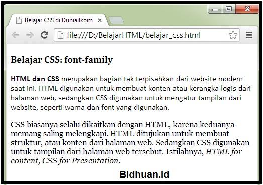 Tampilan Font-Family