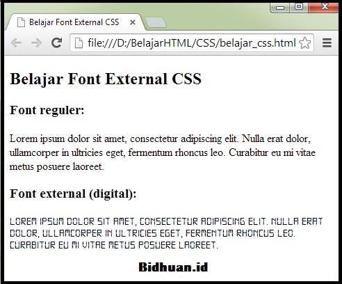 Tampilan Penggunaan Font External