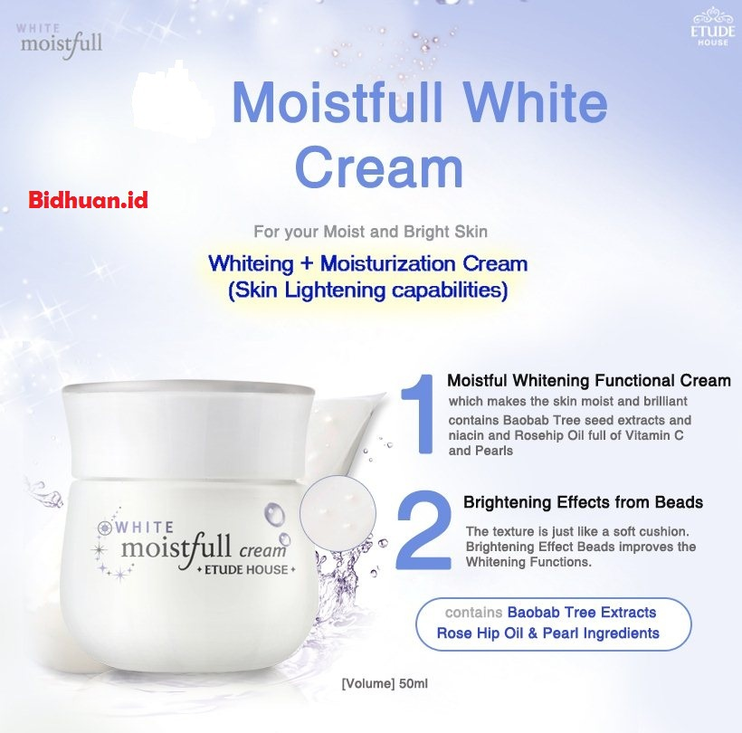 Cream pemutih wajah yang bagus yaitu Etude House Moistfull White Cream