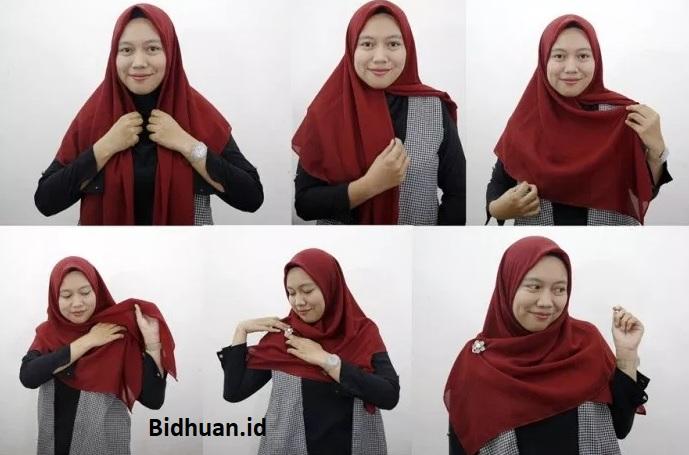 Tutorial Hijab Segi Empat Syari Untuk Wajah Bulat Gamis Kombinasi