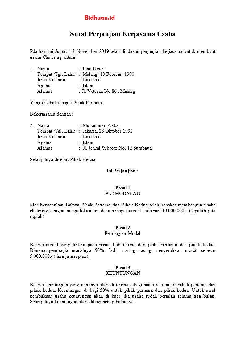 contoh perjanjian kontrak kerjasama usaha