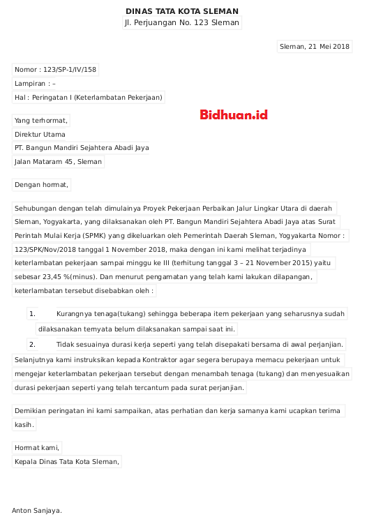 contoh surat peringatan untuk kontraktor