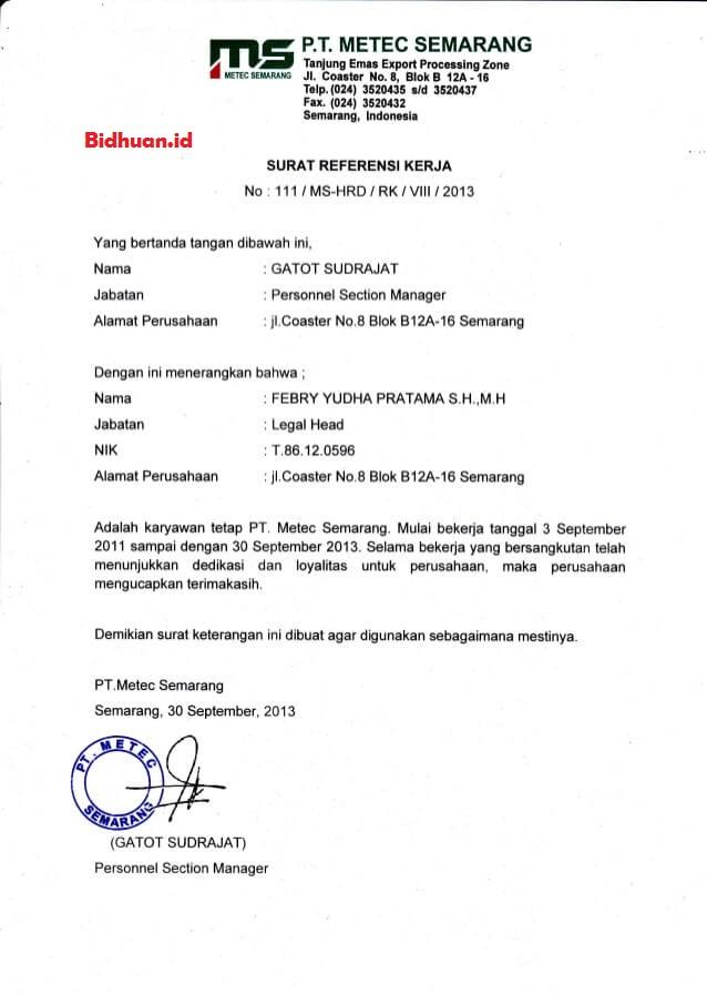 contoh surat referensi kerja untuk perusahaan