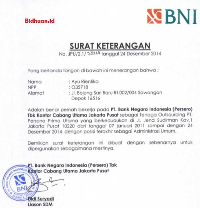 surat pengalaman kerja bank