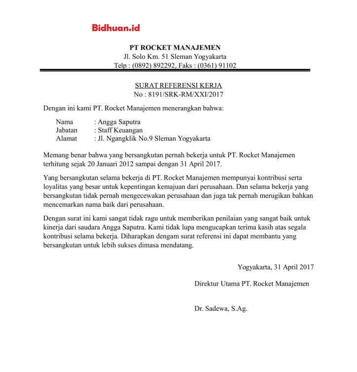 surat referensi kerja perusahaan